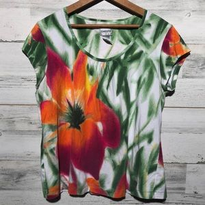 Chico's size 2 bright floral t shirt